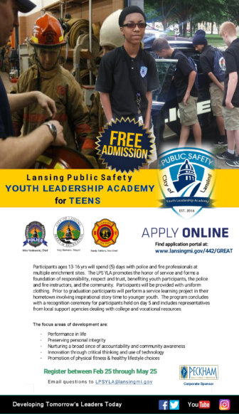 To apply for the LPSYLA, visit www.lansingmi.gov/442/GREAT Graphic courtesy of the Lansing Police Department.