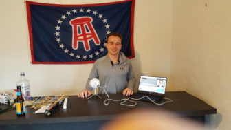 Ryan Ferris with his podcast setup.