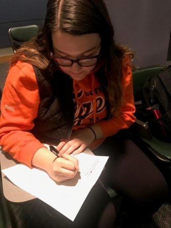 Mackenzie Boismier doing homework at Eastern Michigan University. Photo by Mackenzie Boismier.