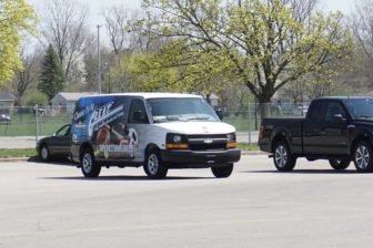 The Lansing Police GREAT Sportsmobile sits ready for another summer of barbecues, basketball and more. Photo by Lukas Eddy