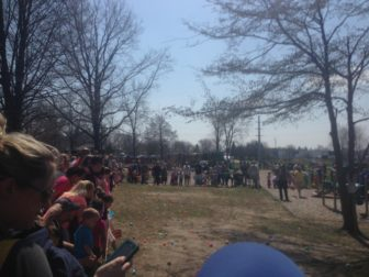 Local children line up in wait for their turn to seek Easter Eggs at Valhalla Park in Holt. The Holt Easter Egg Hunt draws hundreds of children to the town every year.