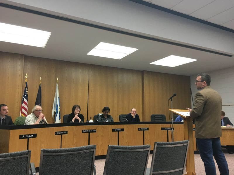 James Barr (far right) presents the highlights of adopting HB-4209, 4210, and 4827 as township ordinances to the Lansing Township Board of Trustees on April 4, 2017. Photo by Casey Harrison.