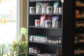 An array of oils and lotions stocked on the shelves at Simple Organics.