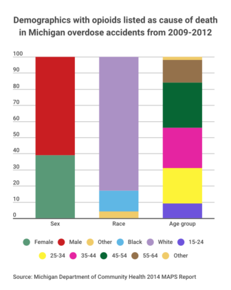 Demographics of opioid related deaths from 2009-2012 in Michigan. Data source by Michigan Department of Community Health 2014 MAPS Report. Graphic by Casey Harrison.