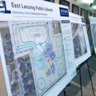 The East Lansing School District present the reconstruction plans to the public.