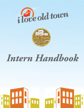 Cover of the Intern Handbook created by J. Curell. Courtesy of the J. Curell webpage under Document Design.