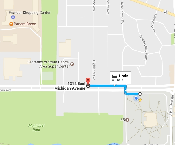 The shortest drive from MSU's campus to Lansing city limits is only one minute, from Rather Hall to near Frandor Shopping Center. Map by Google Maps and Maxwell Evans