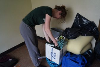 MSU student Sierra Rehm packing up and moving out of East Lansing for the summer.