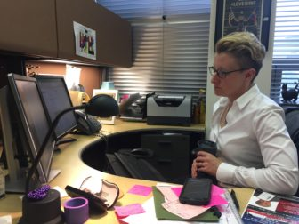 Deanna Hurlbert, director of the LGBT Resource Center at Michigan State University, in her office.