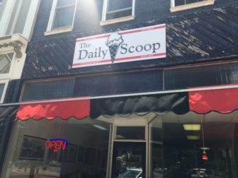 Storefront shot of The Daily Scoop, Mason's newest ice cream parlor.