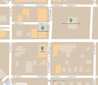 Kean's and The Daily Scoop are located in downtown Mason, just a quick walk from the Ingham County Courthouse.