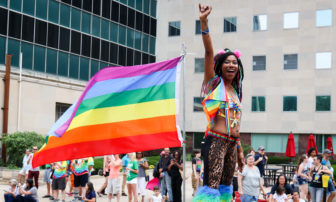 A parader is pictured during the Michigan Pride March at the Capitol Building, East Lansing, Michiganon June 17, 2017. Photo by Kaiyue Zhang.