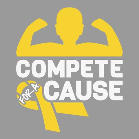 Compete for a Cause childhood cancer prevention on gold bow