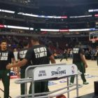 The MSU men's basketball team had T-shirts made as part of their effort to add something positive to the national debate over race relations.