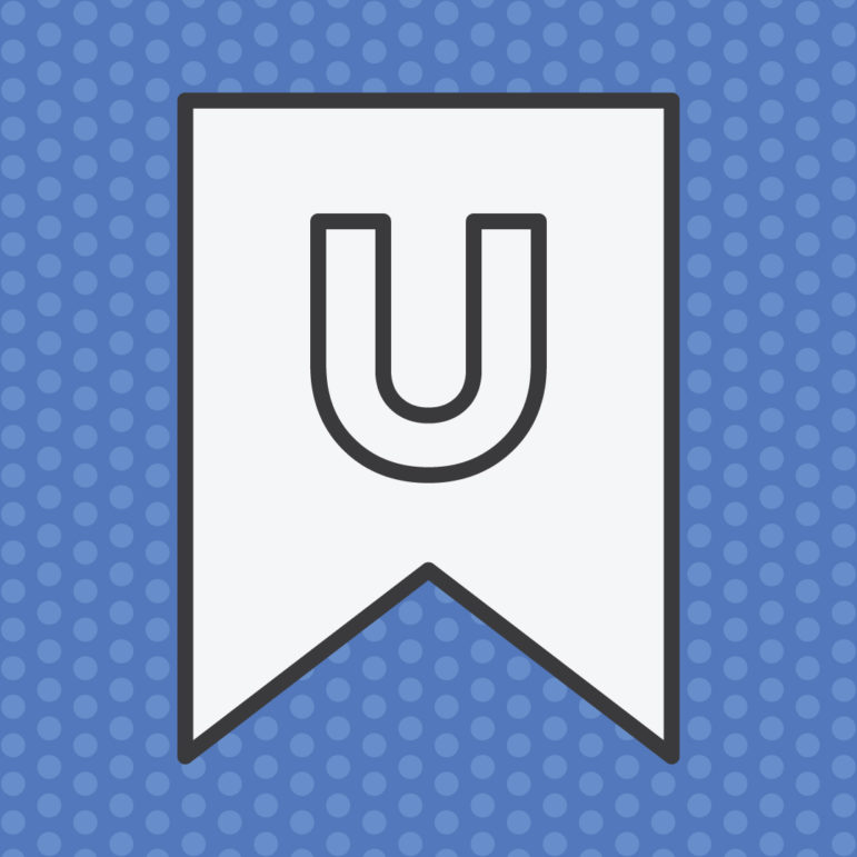 "White pennant banner with a capital letter ""U"" against a blue, polka dot background."