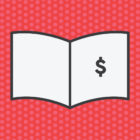 Graphic of book with dollar sign on the cover against a red, polka dot background.
