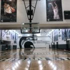 This is where the MSU women's basketball and scout team practice in the Breslin Center.