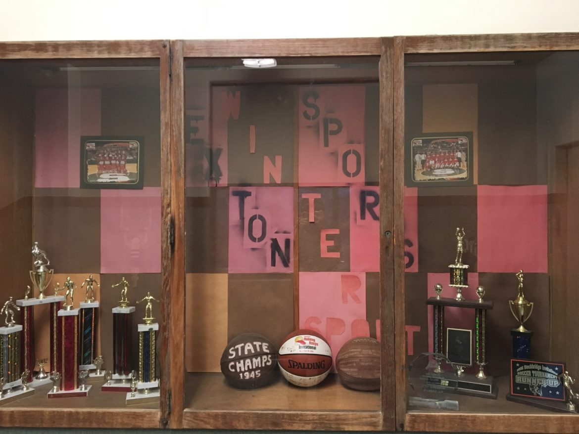 Award and trophy case at J.W. Sexton High School.