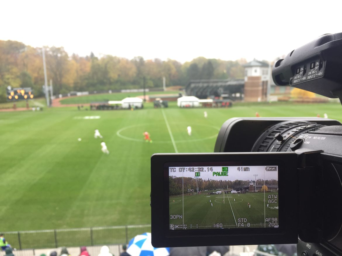 The view from the press box at Michigan State University's DeMartin Soccer Stadium.