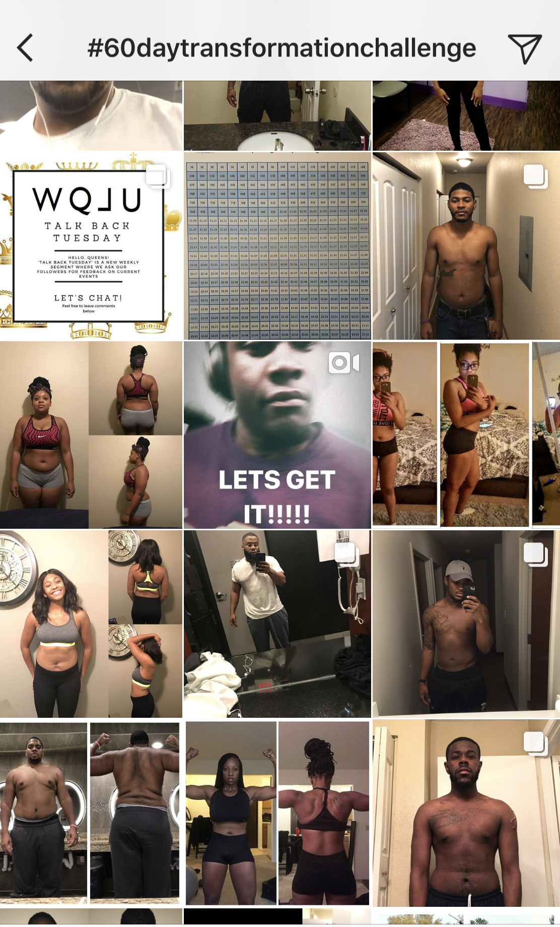 Instagram users respond to Keyon Clinton's challenge to focus on health and wellness for 60 days as part of his #60daytransformationchallenge.