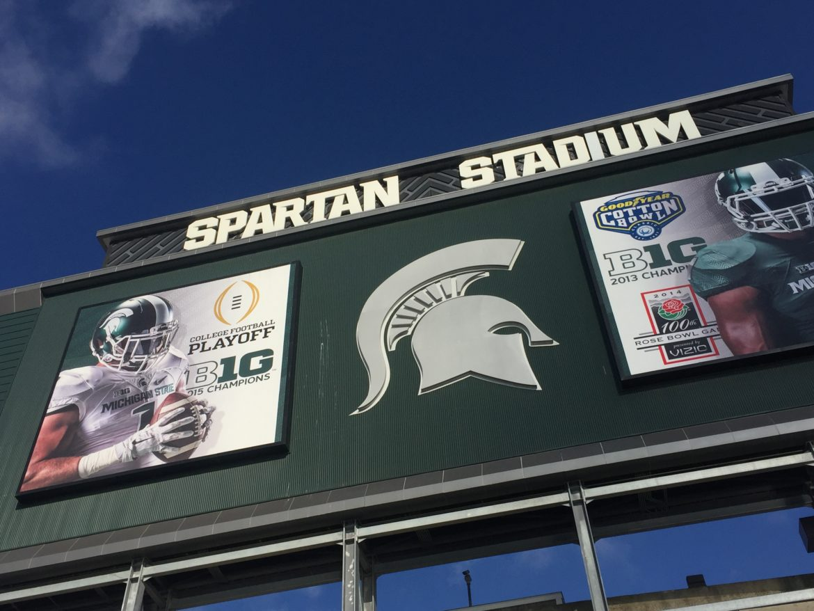 The outside of Spartan Stadium's big screen.