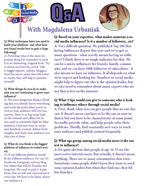 Q&A with Magdalena Urbaniak about how to be a social media influencer