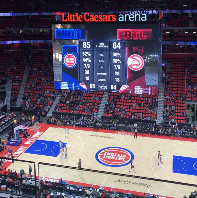 Overhead shot of Detroit Pistons vs. Atlanta Hawks game on Oct. 6. Little Caesars Arena, Detroit, MI