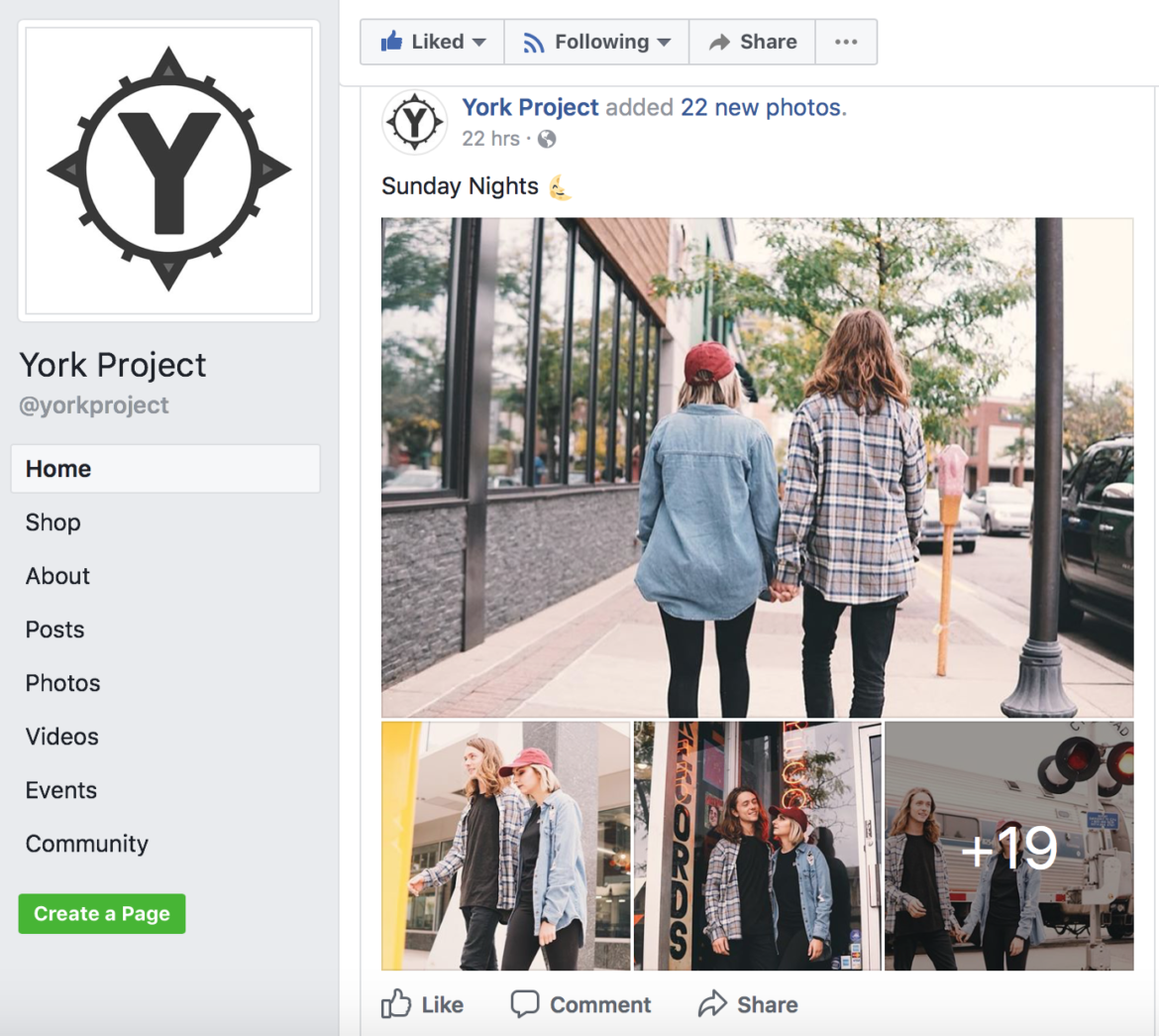 York Project uses social media to target specific demographics for their clothing lines. They also post hip and trendy photos to appeal to their customers.