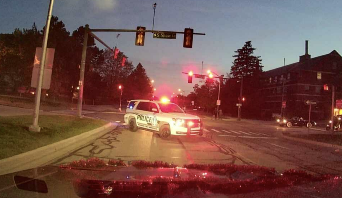 A police car blocks traffic near Spartan Stadium after the 2017 homecoming game.
