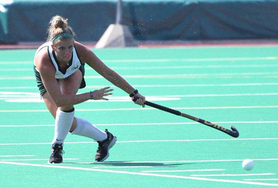 Shelby Supica makes a pass during her senior season with Michigan State field hockey.