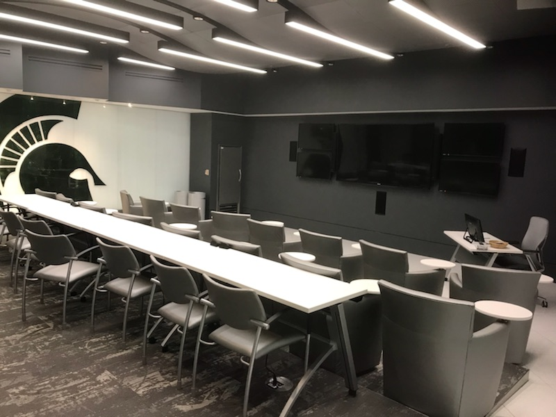 The theater room in the Breslin Center, where team managers provide film about opposing teams for players to use and study.