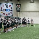 The Michigan State men's club lacrosse team gears up for a practice in East Lansing inside the Skandalaris Center. (Courtesy of LacrossePlayground.com)