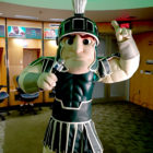 Sparty in the locker room at Breslin Center