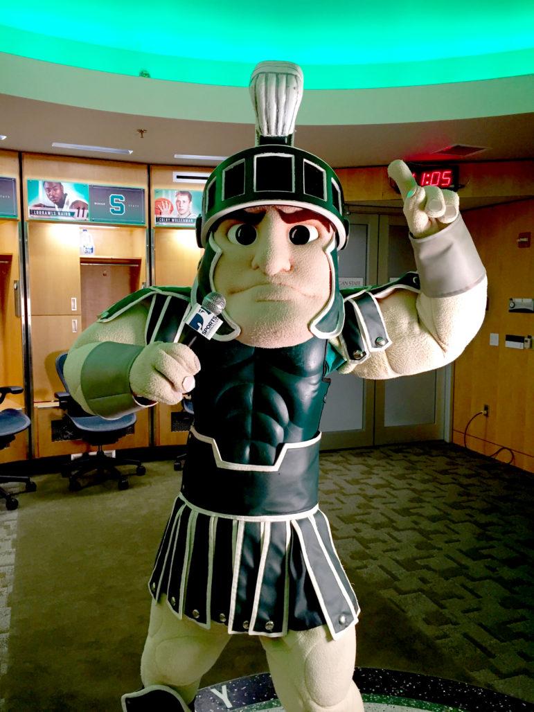 Sparty in the locker room at Breslin Center