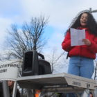 Anaiis Rios-Kasoga calls for gun control while urging older students to vote at East Lansing High School's student-led walkout.
