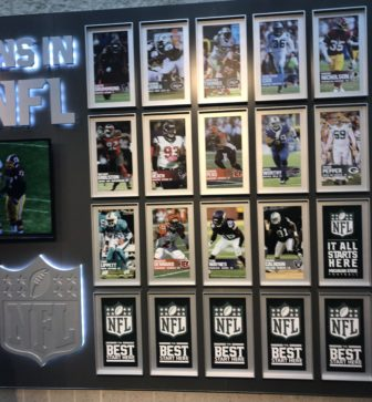 Michigan State a streak of players being drafted in the NFL going back to 1941. Some NFL players are memorialized in the Skandalaris Football Center.