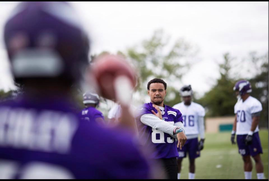R.J. Shelton works through drills during training camp with the Minnesota Vikings. Shelton was signed as an undrafted free agent following the 2017 NFL draft.