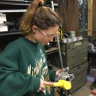 Kai Selwa works in the MSU Formula Racing Shop on March 27, 2018.