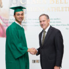 2018 Michigan State graduate Damion Terry pictured with football head coach Mark Dantonio.