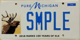Michigan's 2018 wildlife fundraising plate features a bull elk.