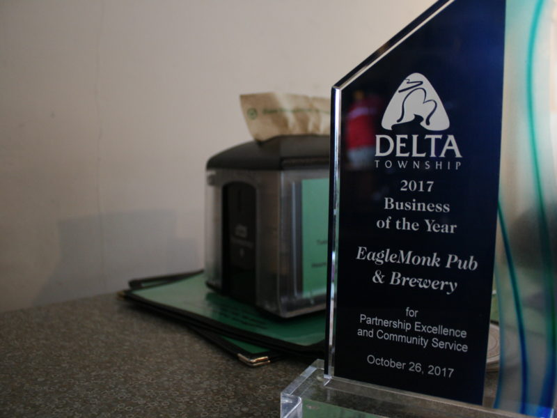 EagleMonk Pub and Brewery was honored in 2017 by the Delta Township Community Awards Committee. Winners of 2018 awards will be recognized on Thursday.