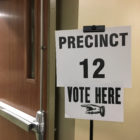 A sign at Precinct 12 at the MSU Union in East Lansing.