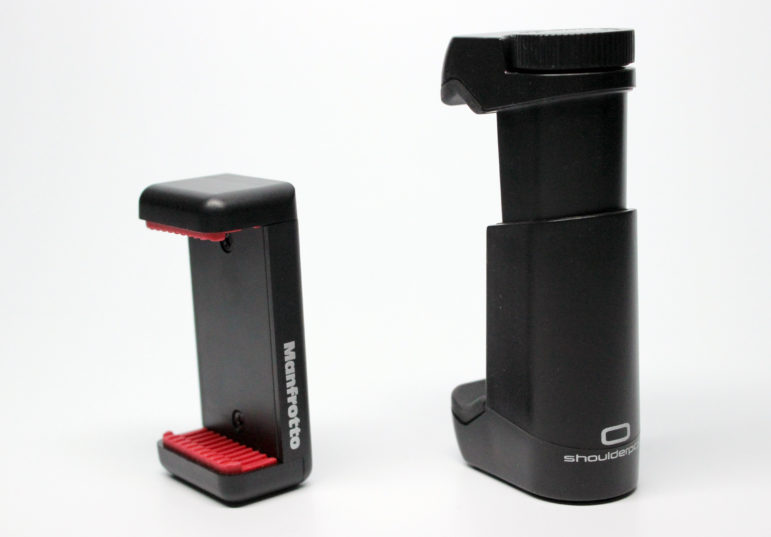 Manfrotto and Shoulderpod cell phone clamps