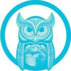 Logo is blue, shows a line drawing of an owl inside a circle
