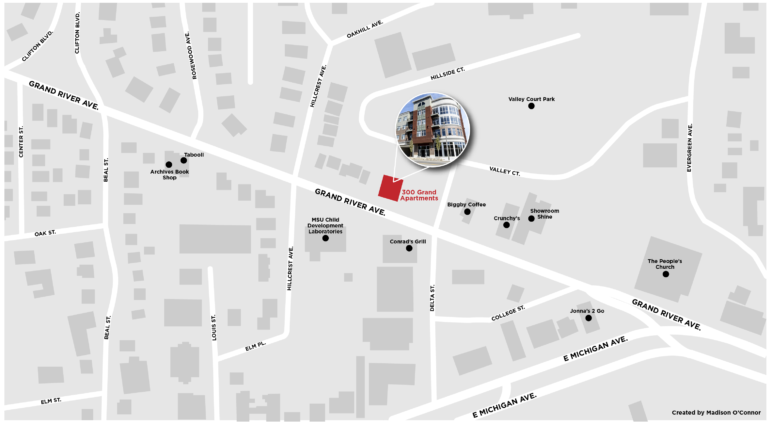 Map of Grand River Avenue, highlighting the 300 Grand Apartments.
