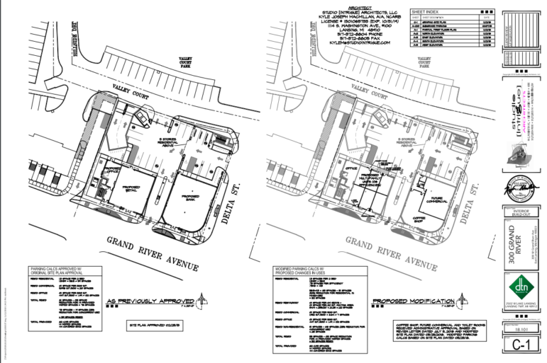 Architectural plans depicting the current and proposed floor plans for the first floor of 300 Grand Apartments.