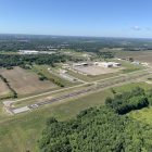 Aerial photo of the newly upgraded runway taken in a 1947 PA-11 Piper Cub Special. The runway is currently 98% done and operational. Courtesy of Bobby Prater. Pilot: Helen Hagg. Used with permission.