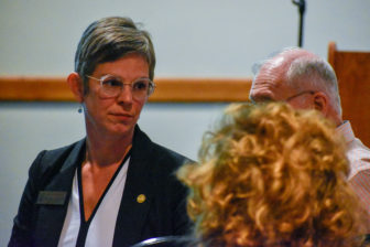 State Rep. Julie Brixie at a town hall in East Lansing