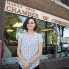 Sarah Russell stands outside of the Mason Chamber of Commerces