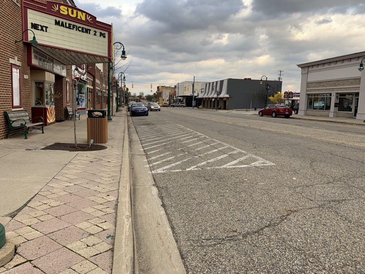 The view down Bridge Street in front of the Sun Theatre. Grand Ledge city officials are preparing for the final phase of a multi-year construction project to improve downtown infrastructure.